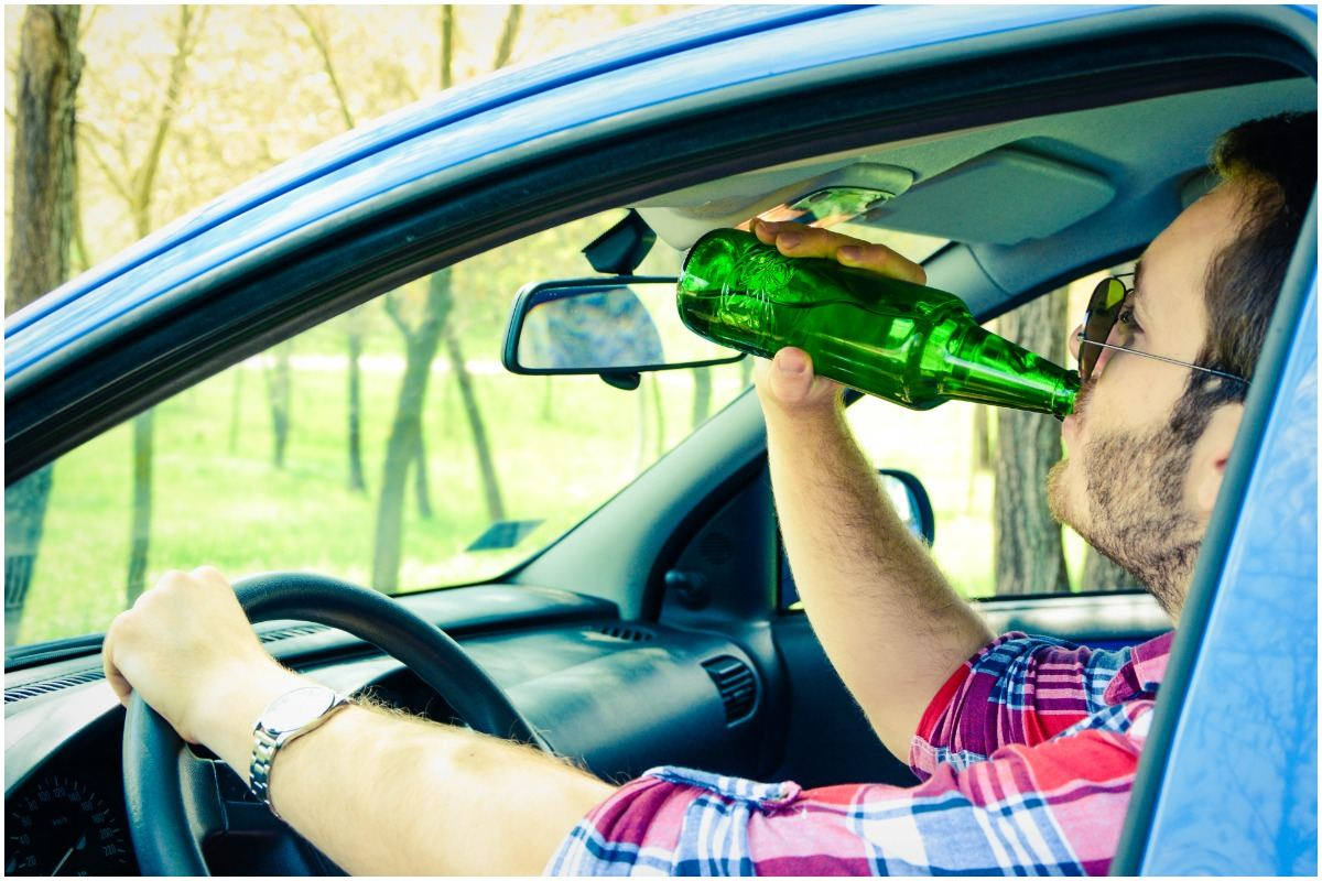drinking alcohol while driving a car