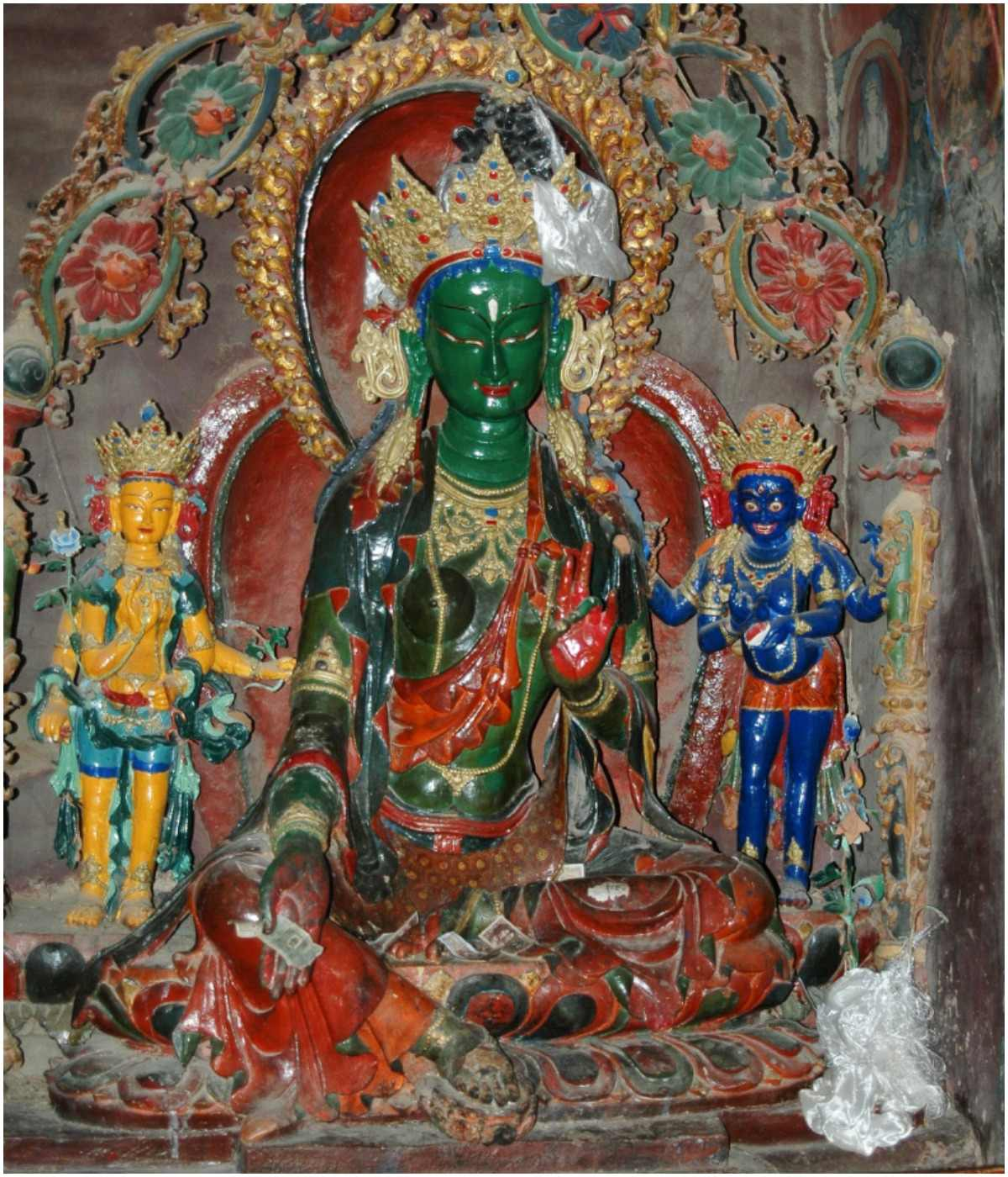 sacred statue of Green Tara in a Tibetan monastery