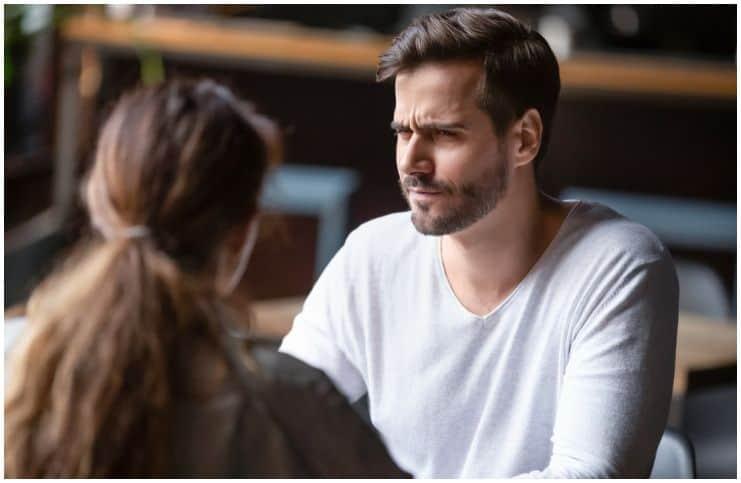 liar man looking at woman