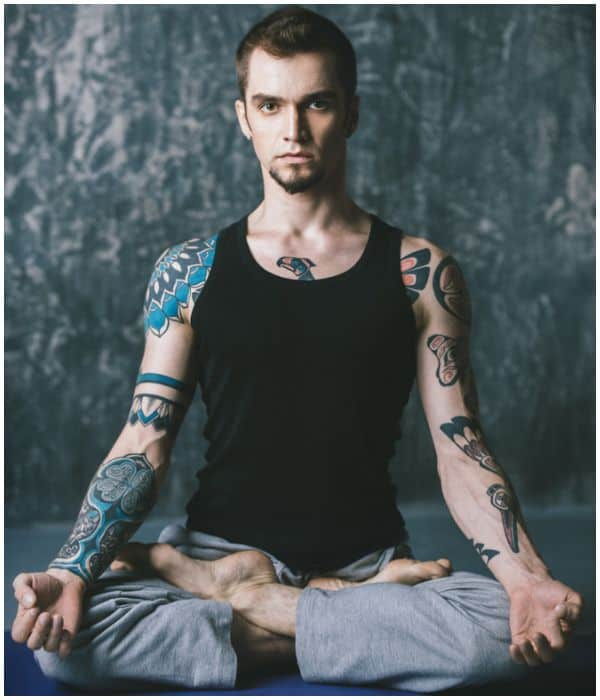 man tattoos meditation