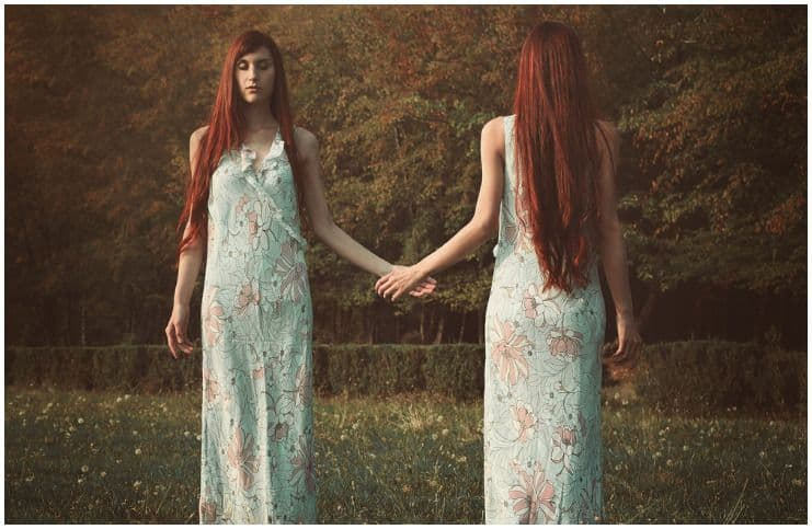 red hair woman love twin