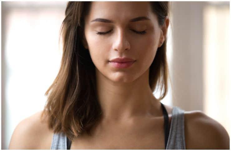 woman in deep meditation