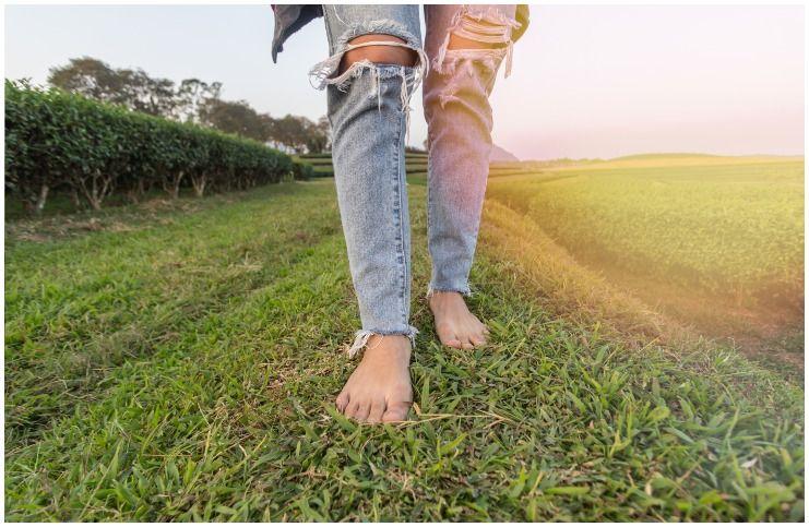 Walking Barefoot in Dewy Grass