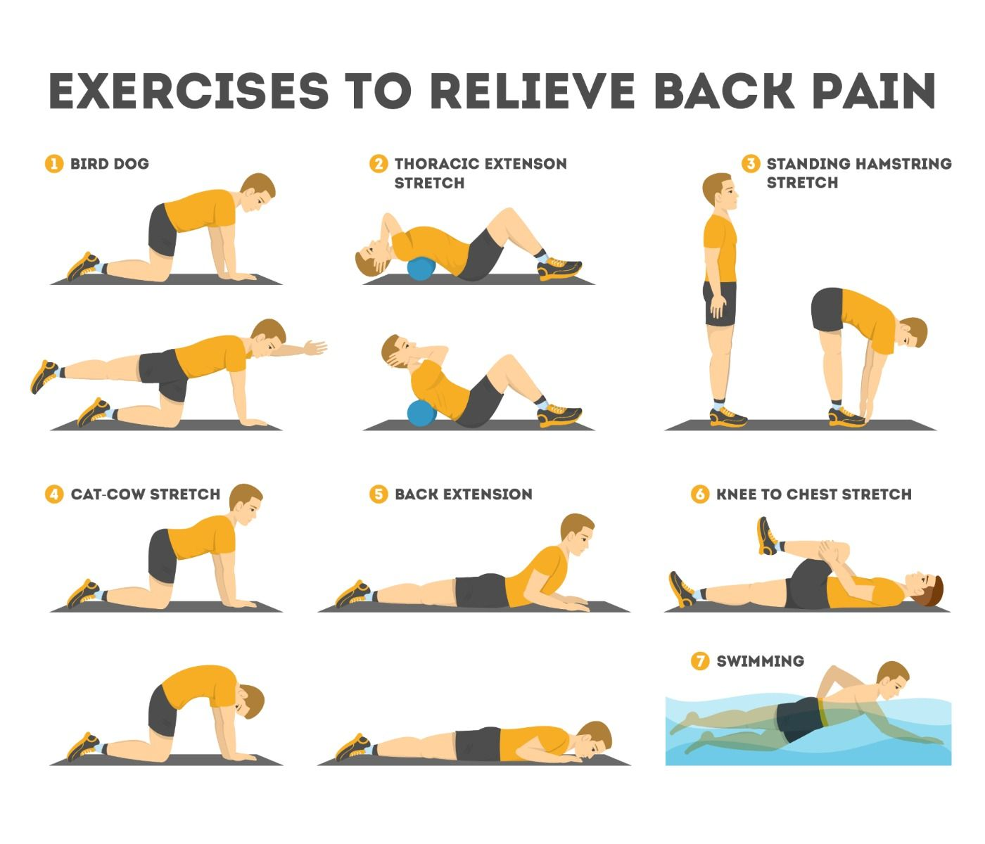 Exercise set to relieve back pain