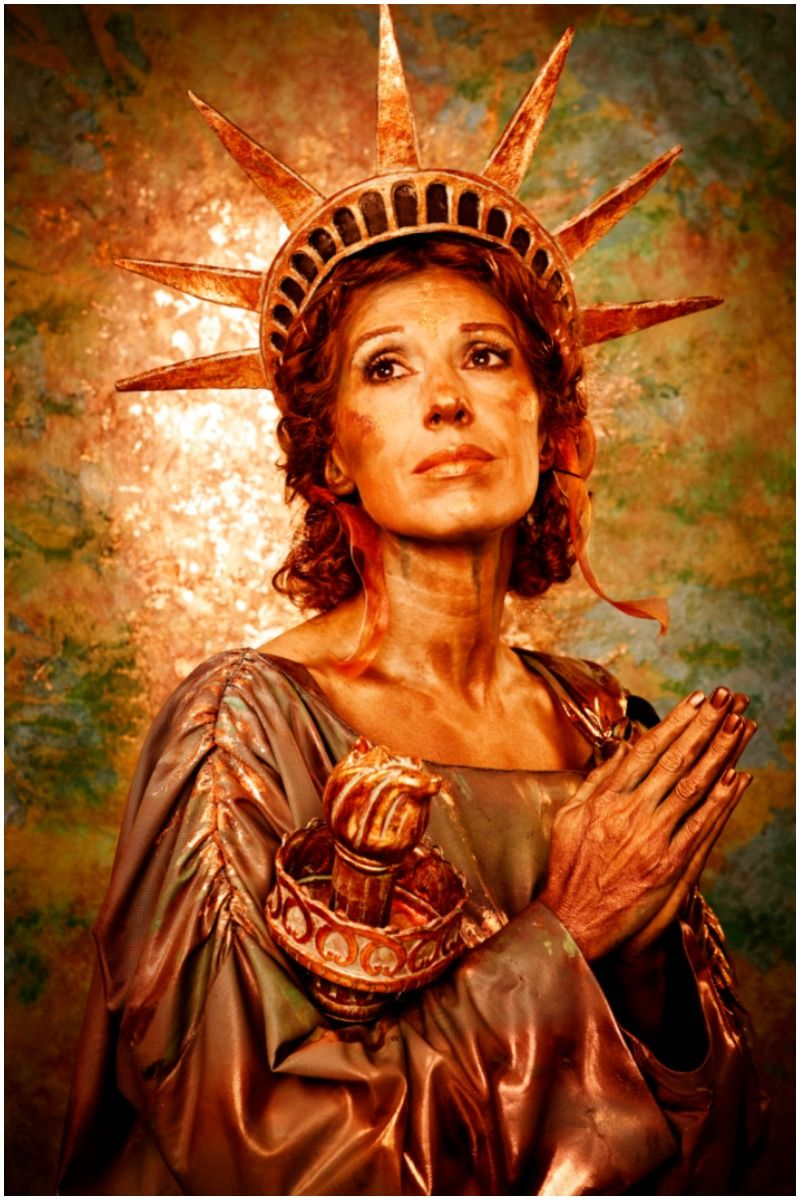 copper woman statue